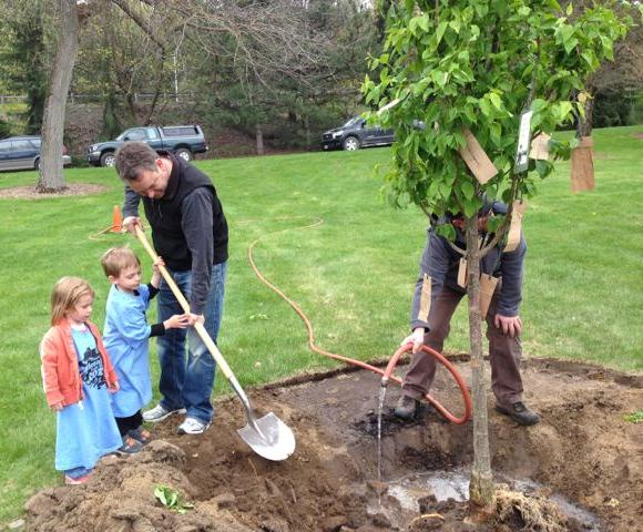 Mayor David A. Condon plants Spokane's Arbor Day Tree with help from his kids. The tree is part of the Suzie Forest project. Spokane has been a Tree City USA for 10 years.