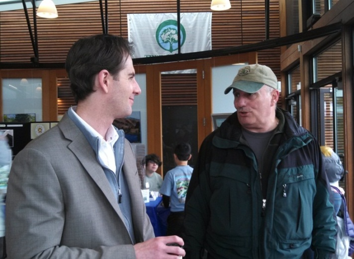 State Forester Aaron Everett visits with Dan DeWald, Natural Resources Manager for the City of Bellevue, which celebrated 22 years as a Tree City and 20 consecutive years of growth awards. A record matched by fewer than a dozen communities nationwide!