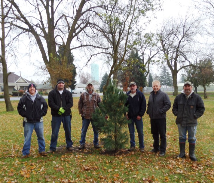 Ritzville's tree planting crew (from left to right)  Nathan Bucher, Justin Ziebell, Wayne Marshall, Larry Swift, Mike Schrag, and Mike Geschke