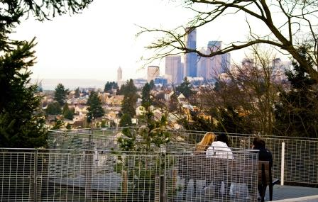 Three Friends Having Morning Coffee - View of Downtown from the Mount Baker Neighborhood
